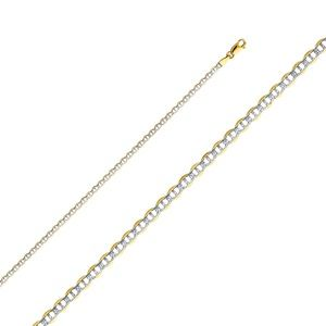14K Yellow 2.7mm Flat Mariner Pave Chain - 24""